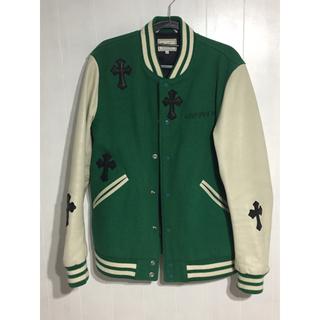 クロムハーツ(Chrome Hearts)の最終値下げleather cross custom jacket green(スタジャン)