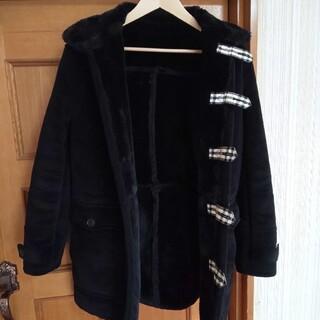 BURBERRY BLACK LABEL - BURBERRY BLACK LABEL フェイクファーコート 黒 M 美品