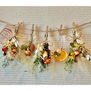 お花たっぷりドライフラワー スワッグ ガーランド❁150ローズ薔薇オレンジ花束(ドライフラワー)