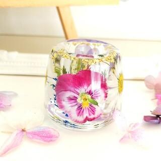 No.215 ピンク&紫ビオラ♡固まるハーバリウムペン立て•印鑑立て(ドライフラワー)