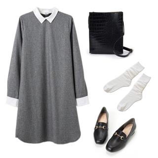 ダブルクローゼット(w closet)のw closet フラノシャツ衿ワンピース グレー(ひざ丈ワンピース)