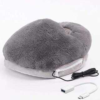 グレー足温器 フットウォーマー 速暖 足冷え対策 USB フットウォーマー 5V(電気ヒーター)