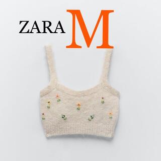 ZARA - 新品未使用 ZARA 春準備✿ビーズ刺繍 クロップドトップス ハーフキャミ