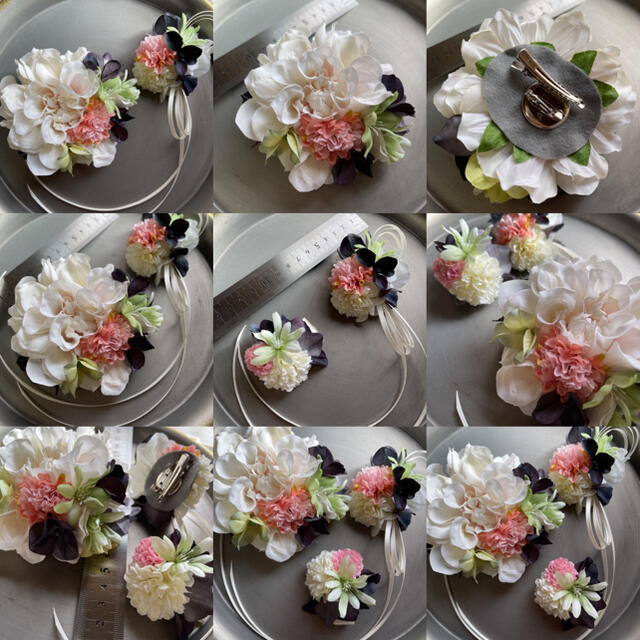 toytoy623 親子コサージュ 3点セット 【アイボリー】卒業 入学 結婚式 ハンドメイドのアクセサリー(コサージュ/ブローチ)の商品写真