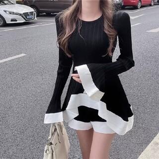 ニットフレア セットアップ  BLACK(Tシャツ(長袖/七分))