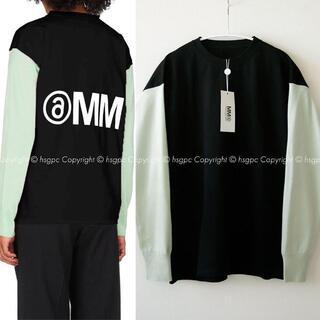 エムエムシックス(MM6)のMM6 レイヤード 反転ロゴ ドッキング ニット カットソー ロンT セーター(ニット/セーター)