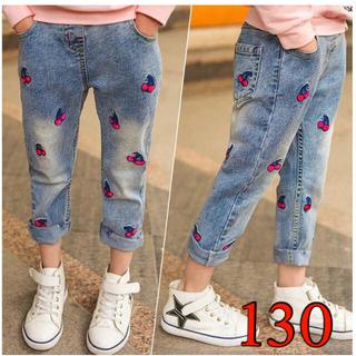 130  キッズ デニム パンツ 可愛い 女の子 ズボン さくらんぼ ジーンズ(パンツ/スパッツ)