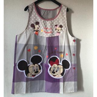 ディズニー(Disney)の新品 ミッキー ミニー お顔 アプリケ 刺繍 ポケット 保育士エプロン(その他)