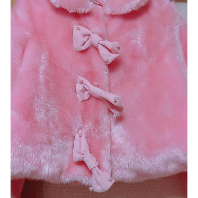 Angelic Pretty(アンジェリックプリティー)のAngelic Pretty ファージャケット ピンク リボン レディースのジャケット/アウター(毛皮/ファーコート)の商品写真