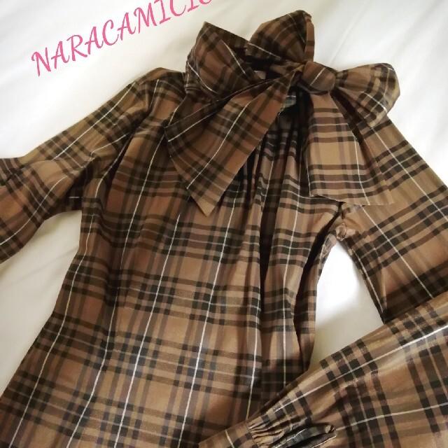 NARACAMICIE(ナラカミーチェ)の美品 ナラカミーチェ☆ストレッチ チェック ボウタイ ブラウスⅠ レディースのトップス(シャツ/ブラウス(長袖/七分))の商品写真