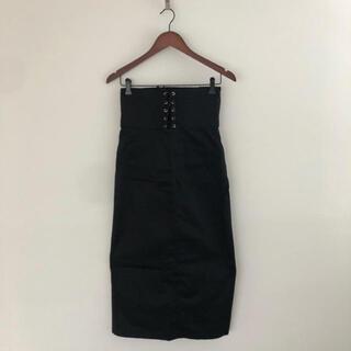 レースアップ タイトスカート ブラック 編み上げ(ロングスカート)
