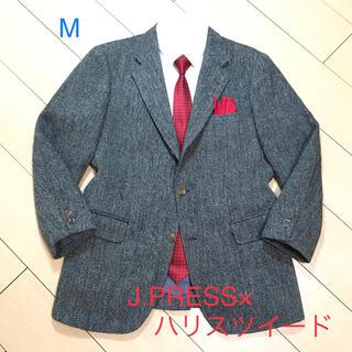 J.PRESS - 極美品★ジェイプレス×ハリスツイード 灰×黒 ヘリンボーン柄ジャケット A571
