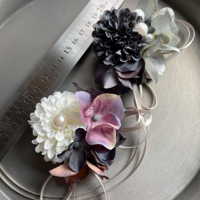toytoy663 小さめサイズ コサージュ【ダークグレー】卒業式入学式 結婚式 ハンドメイドのアクセサリー(コサージュ/ブローチ)の商品写真