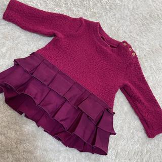 プティマイン(petit main)のプティマイン♡プリーツ裾フリル起毛チュニック(ニット/セーター)