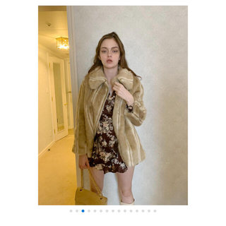 ハニーミーハニー(Honey mi Honey)のparisienne ribbon 2way fur coat beige(毛皮/ファーコート)