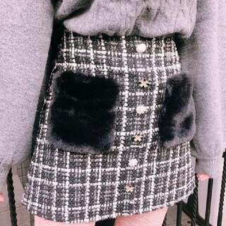 スワンキス(Swankiss)のスワンキス ビジューツイードスカート 完売品(ひざ丈スカート)