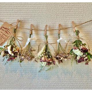 お花たっぷりドライフラワー スワッグ ガーランド❁157薔薇ローズ紫ピンク花束(ドライフラワー)