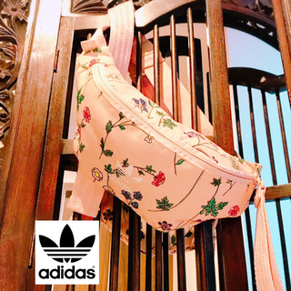 adidas - アディダス ピンク 花柄 ウエストポーチ バッグ メッセンジャーバッグ