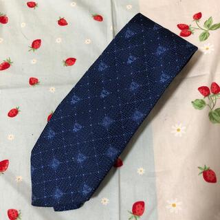エムシーエム(MCM)の美品MCMエムシーエム ネクタイ ブルー青ロゴ マーク シルク イタリア製(ネクタイ)
