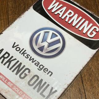Volkswagen - WARNING フォルクスワーゲン PARIKNG ONLY ブリキ看板