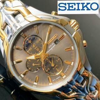 セイコー(SEIKO)の【新品】SEIKO 光沢あるゴールド加工 ソーラー セイコー メンズ腕時計(腕時計(アナログ))