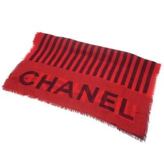シャネル(CHANEL)のシャネル ロゴ ストライプ ストール レッド赤 ブラック 40800065868(マフラー/ストール)