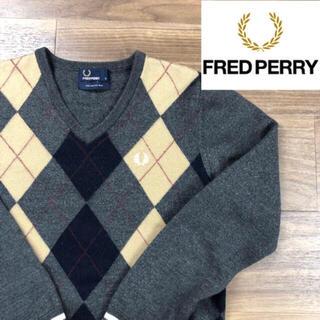フレッドペリー(FRED PERRY)の美品 フレッドペリー セーター S ウール100%  ニット アーガイル柄(ニット/セーター)