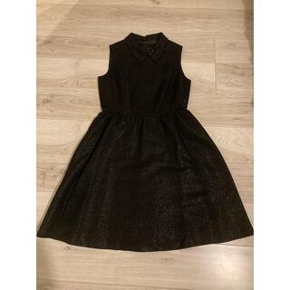 ザラ(ZARA)の新品 タグ付き 4WAY ワンピース ドレス 衿付き 襟付き ラメ ブラック 黒(ミディアムドレス)