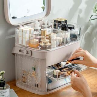 メイクボックス 一人暮らし 大容量 鏡 アクセサリー収納付 ベージュ(メイクボックス)