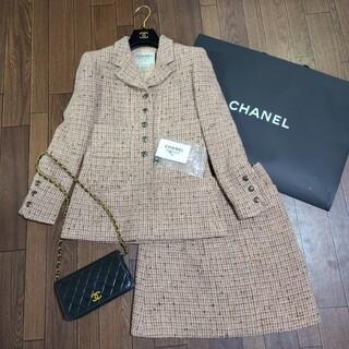 CHANEL - 【ピンクツイード】 CHANEL ツイード シャネルスーツ スーツ ジャケット