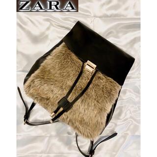 ザラ(ZARA)の【美品】ZARA ザラ リュック お洒落 モコモコ ブラック 黒 レディース(リュック/バックパック)