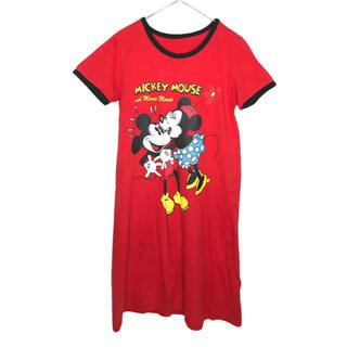 ディズニー(Disney)のDisney ミッキーミニーTシャツワンピース(ロングワンピース/マキシワンピース)