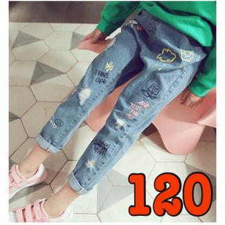 120 人気 韓国 子供 女の子 デニム ジーンズ  キッズ ズボン ペイント(パンツ/スパッツ)
