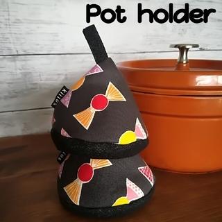 ストウブ(STAUB)の✧三角鍋つかみ✧ チョコレート包柄グレー  北欧風(キッチン小物)