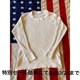 ダブルアールエル(RRL)の希少!ビンテージ サーマル長袖Tシャツ クリームMade in USA Army(Tシャツ/カットソー(半袖/袖なし))