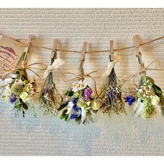 お花たっぷりドライフラワー スワッグ ガーランド❁159ブルー青グリーン白花束(ドライフラワー)