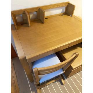 オオツカカグ(大塚家具)のOTSUKA 無垢タモ材 学習机セット 学習チェア ワゴン付き 北欧(学習机)