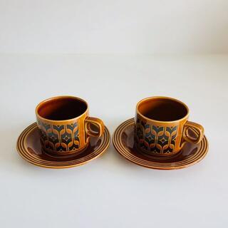 アラビア(ARABIA)のHORNSEA ホーンジー Heirloom カップ&ソーサー 2脚セット #1(グラス/カップ)