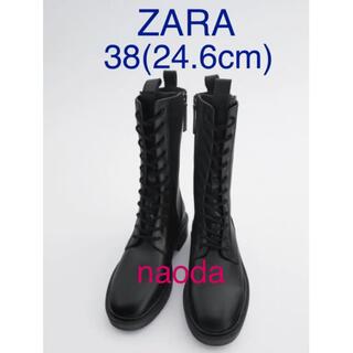 ザラ(ZARA)の【タグ付き新品】ザラ  レースアップ リアルレザー  フラット ブーツ(ブーツ)