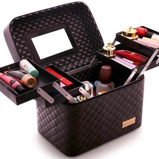 新品未使用 鏡付き メイクボックス 化粧箱 大型 大容量 タイプ(メイクボックス)