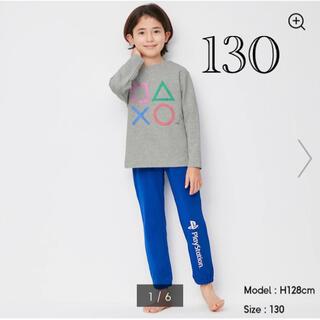 ジーユー(GU)のキッズ パジャマ 部屋着 長袖トップス 長ズボン プレステ 男 女 130 青色(パジャマ)