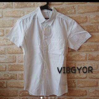 ビブジョー(VIBGYOR)の★VIBGYOR★中古★シンプル 無地 半袖 シャツ★ホワイト 白★L 羽織り(シャツ)