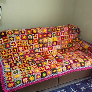 明日迄の出品です。毛糸のベッドカバー☆マルチカバー*15とり様専用(ソファカバー)