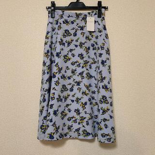 マッキントッシュフィロソフィー(MACKINTOSH PHILOSOPHY)のMACKINTOSH PHILOSOFY 花柄 ロングスカート ブルー(ひざ丈スカート)