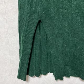 スライ(SLY)のSLY ラメグリーン ロングタイトスカート(ロングスカート)