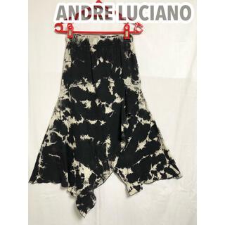 アンドレルチアーノ(ANDRE LUCIANO)のアンドレルチアーノ ゴムウエスト ひざ丈スカート まだら模様 モノトーン(ひざ丈スカート)