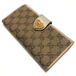 グッチ(Gucci)のグッチ Gucci 長財布 折財布 GGキャンバス×レザー ベージュ×白 ハート(財布)