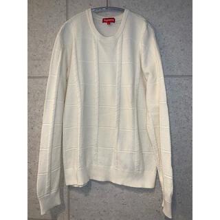 シュプリーム(Supreme)のsupreme シュプリーム  M コットンニット セーター 色はオフホワイト(ニット/セーター)