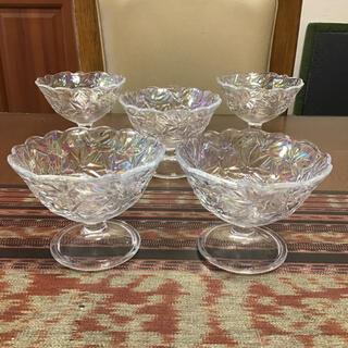 トウヨウササキガラス(東洋佐々木ガラス)の佐々木ガラス 貝パール カキ氷 鉢 中鉢 5杯(食器)