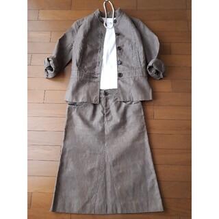 マカフィー(MACPHEE)のMACPHEE マカフィー 綿麻 七分袖スーツ 薄茶 36(ノーカラージャケット)